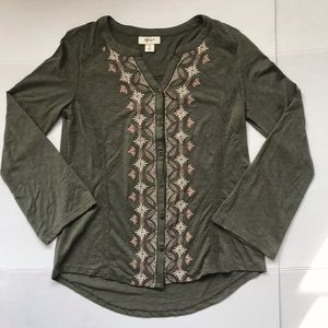 Style & Co Embroidered Women Long Sleeve Blouse XS